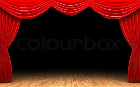 open stage curtains red velvet curtain opening scene stock photo colourbox
