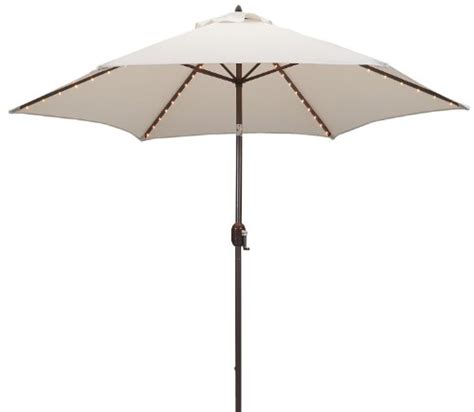 Tropishade Tropilight 9 Foot Bronze Aluminum Lighted Canvas Patio Umbrella