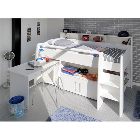swan mid sleeper with desk and storage beds
