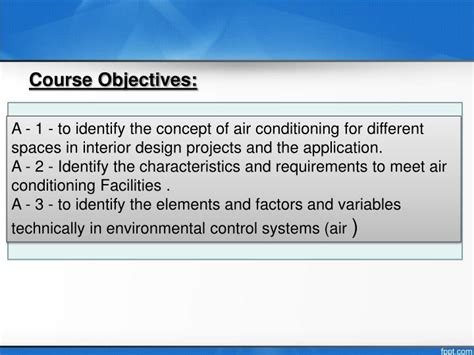 design criteria for air conditioning ppt faculty of arts and design dept of interior design