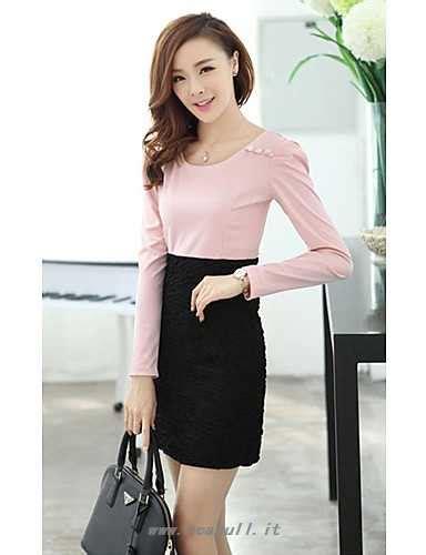 abbigliamento da ufficio donna vestito da ufficio casual sopra il ginocchio poliestere