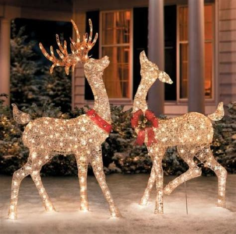 set of 2 lighted golden chagne reindeer deer outdoor