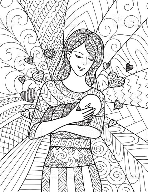 coloring pages for adults mom mom holding baby for adult coloring pages stock vector art