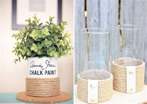 decorar jarrones con yute bonitas manualidades hechas con cuerdas y poco dinero
