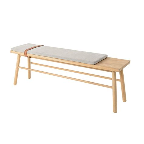 bench with cushion bloomingville straight wooden bench with cushion living