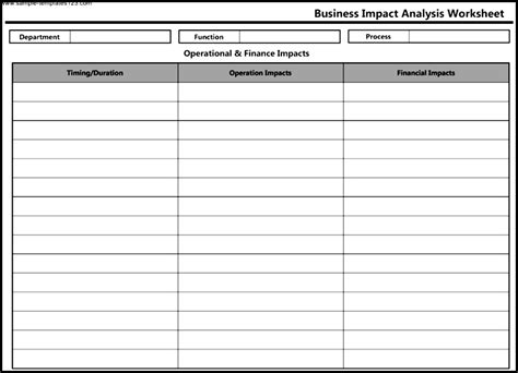 business impact analysis worksheet template sle templates