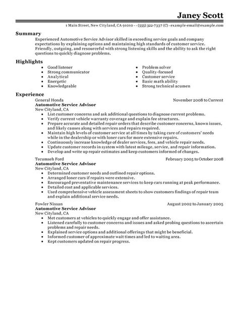 Automotive Service Advisor Resume   2017   2018 Best Cars