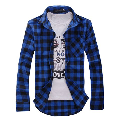Sleeve Slim Fit Check Shirt fashion mens plaid check sleeve casual shirt slim fit