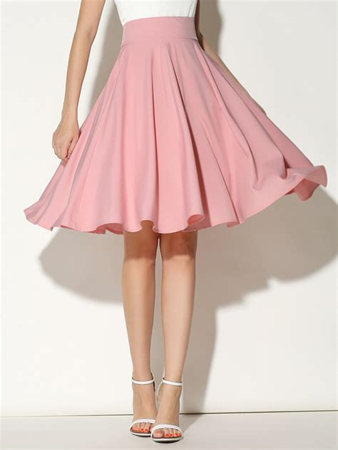 Skirt Highwaist pink high waist midi skater skirt abaday