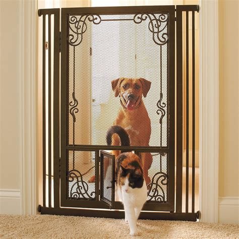 frontgate gate 42 quot h tension mount dual door steel mesh pet gate gate traditional pet supplies