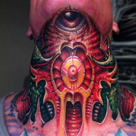 biomechanical tattoo neck biomechanical neck tattoo by fatink tattoo