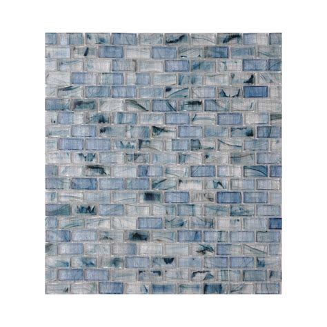 glass backsplash tile lowes shop american olean visionaire serenity blue brick mosaic