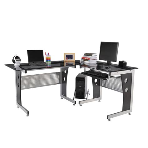 glass top l table homcom 64 modern l shaped glass top office workstation