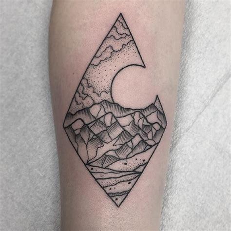 black and grey geometric tattoos diamond geometric w mountain scene inside black and grey