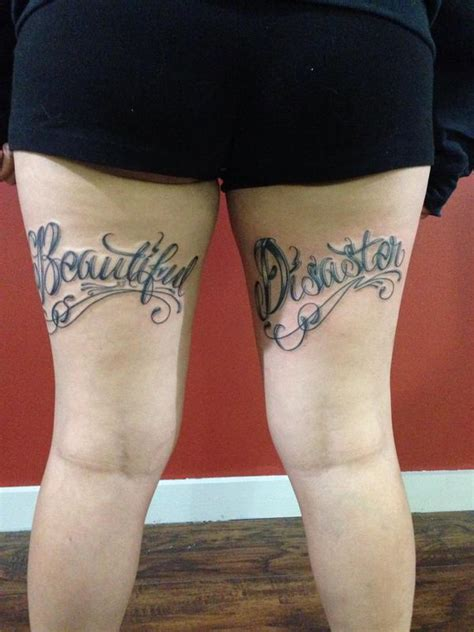 tattoo letters leg beautiful disaster lettering by joshua nordstrom tattoos