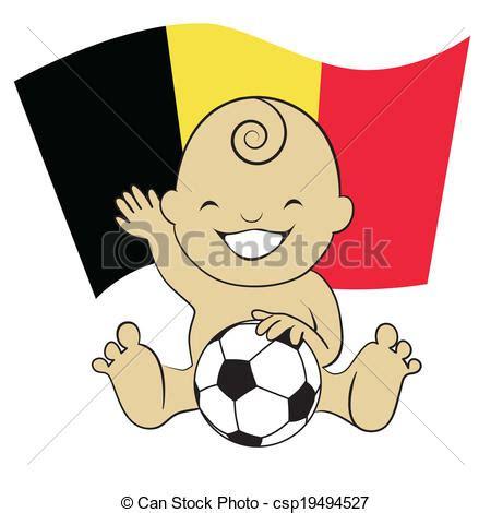 vector illustration of baby soccer boy with belgium flag background cartoon csp19494527
