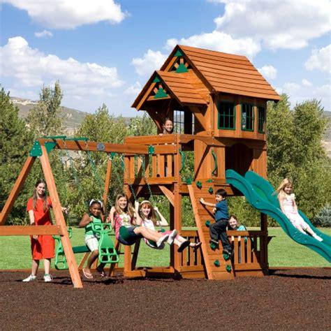 outdoor playhouse swing set backyard discovery windsor swing set ii at hayneedle