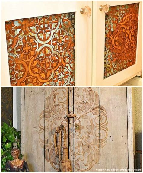 20 diy cabinet door makeovers with furniture stencils diy cabinets design and furniture