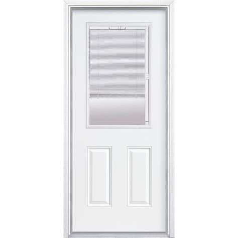 Half Lite Exterior Door Masonite 32 In X 80 In Premium Half Lite Mini Blind Primed Steel Prehung Front Door With