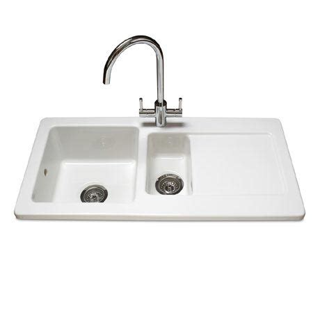 White Ceramic Kitchen Sinks Reginox Contemporary White Ceramic 1 5 Bowl Kitchen Sink Rl501cw At Plumbing Uk