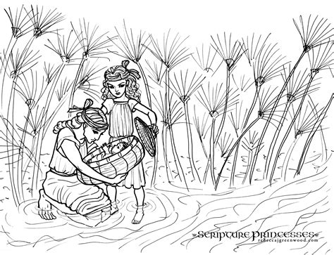 coloring pages of baby moses and miriam free coloring page miriam rebecca j greenwood