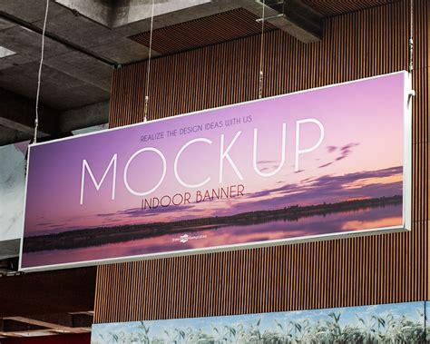 Banner Indoor free indoor advertising hanging banner mockup psd