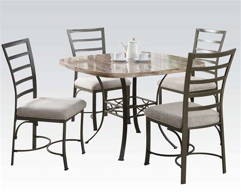 marble dining set dining set val w marble top table by acme furniture ac70057sqwh set