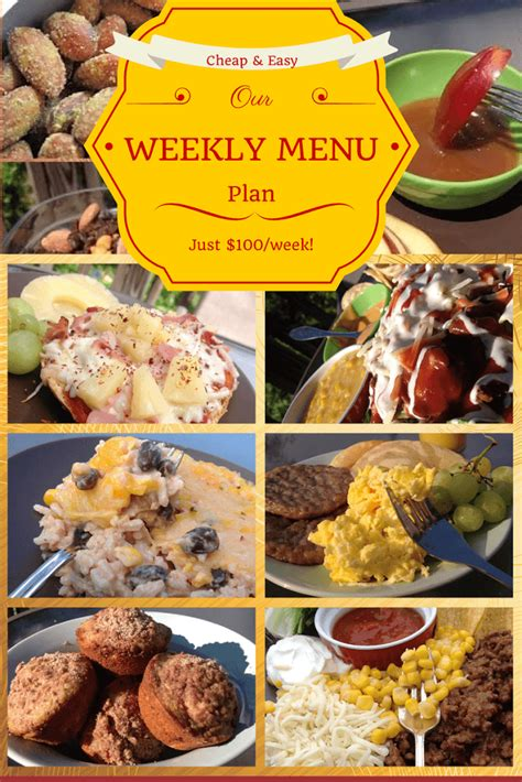 7 Easy Meals For One Person by Weekly Meal Plans On A Budget Cheap Weekly Menu