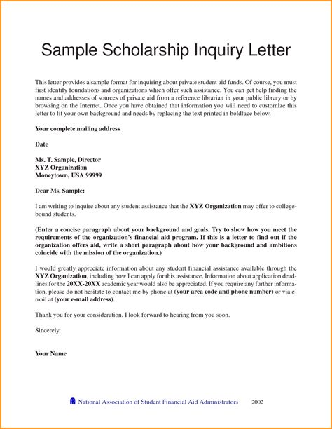 Letter Of Recommendation For Financial Assistance 4 Scholarship Letter Sle Quote Templates