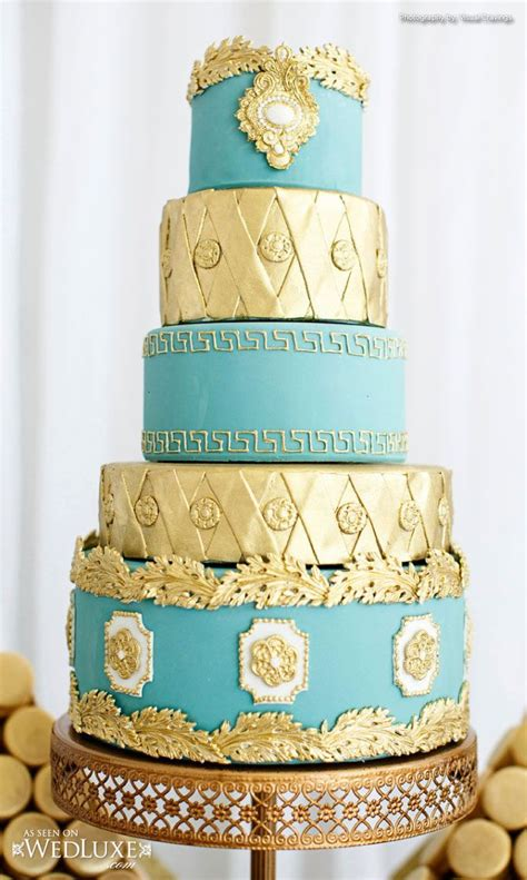 gold themed cake teal and gold truffle cake pastry wedding cakes