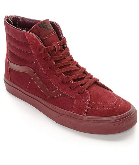 Vans Era Mono Maroon Vans Sk8 Hi Zip Port Royale Mono Skate Shoes Zumiez