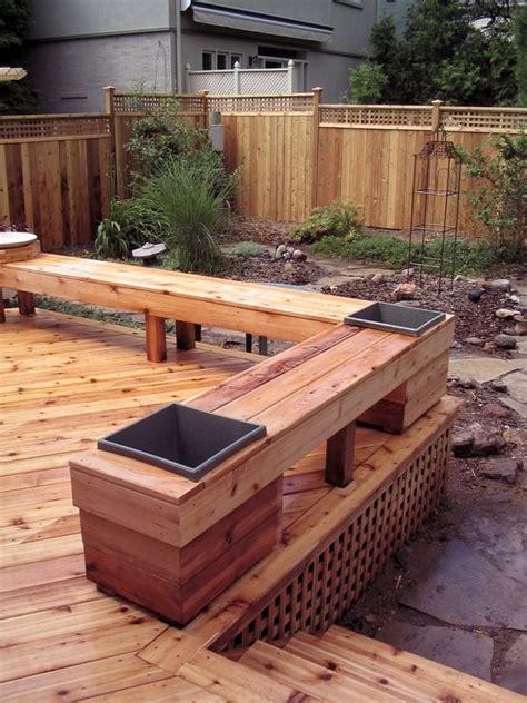 Deck Post Planters by Cedar Deck Fence And Bench With Built In Planters