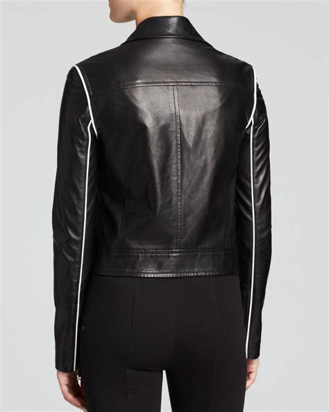 At974 Flowy Bomber Jacket dkny contrast piping leather moto jacket in black lyst