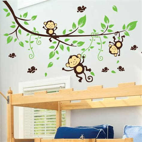 monkey nursery wall stickers monkey tree birds animal nursery children wall stickers wall decals ebay