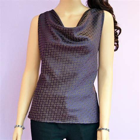Draped Cowl Neck Blouse draped cowl neck sleeveless purple print design womens