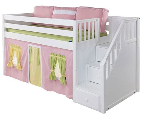 Loft Bed White Maxtrix Low Loft Bed With Staircase White Bed Frames