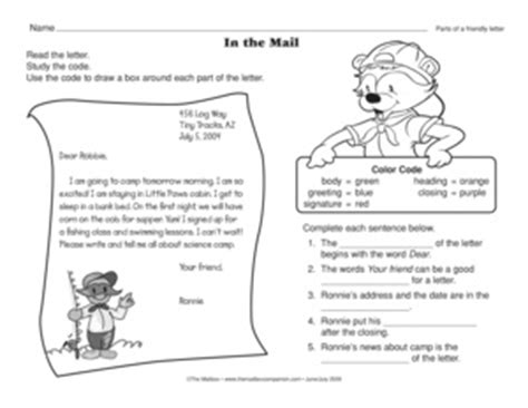 Writing Friendly Letters Worksheets by Results For Parts Of A Friendly Letter Guest The Mailbox