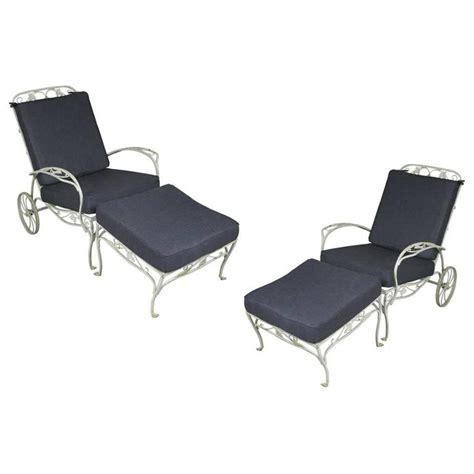 wrought iron lounge chairs pair of vintage wrought iron adjustable lounge chairs and