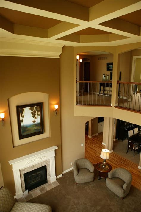 2 story living room open living area with two story ceiling lovely house