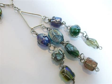 wire wrapped bead necklace and earrings set artwespecial
