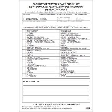 Other Inspection Reports Cranes Refuse Trucks Containers And More Forklift Weekly Checklist Template