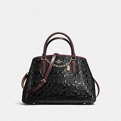 Coach Small Margot Carryall Black coach f55451 small margot carryall in signature debossed patent leather imitation gold black