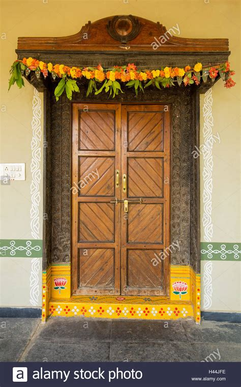 painted entrance door  traditional indian home