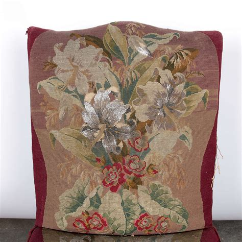 19th century handmade needlepoint sidechair for sale at