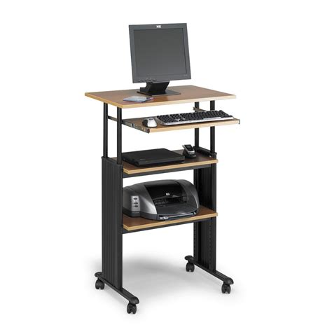 Small Workstation Desk Small Stand Up Computer Desk With Tiered Open Shelves And Adjustable Height Plus Wheels Of 10