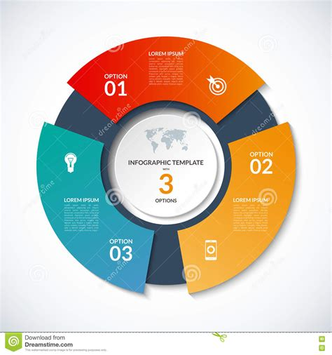 Vector Circle Template For Infographics Business Concept With 3 Options Steps Parts Segments Circle Infographic Template