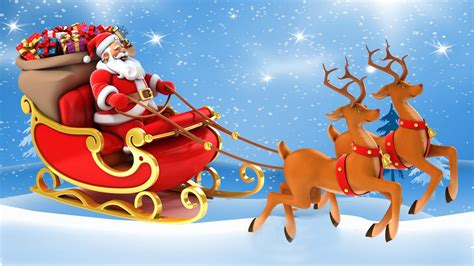 christmas postcard santa claus   sleigh  gifts reindeer desktop hd wallpaper  mobile