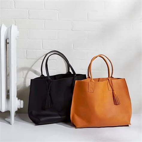 Handmade Leather Tote Bags - bubo handmade leather tote bag west elm