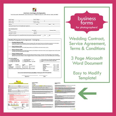photography terms and conditions template wedding photography contract template business form by