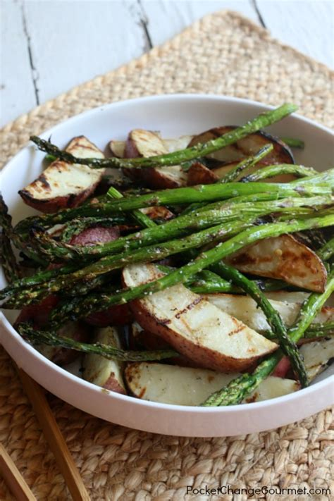 dogs and asparagus grilled asparagus and potatoes pocket change gourmet